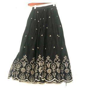 """Embroidered eyelet suede velvet skirt - 26"""" waist"""